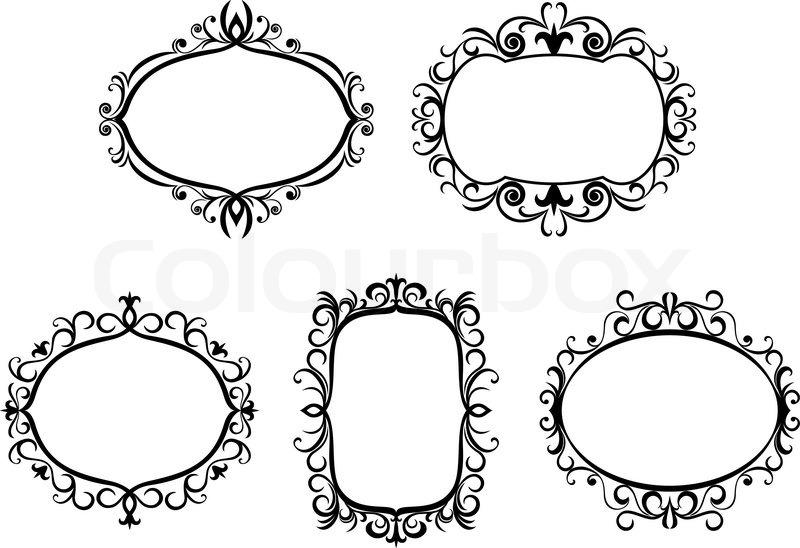 vintage frame design oval. Antique Vintage Frames And Borders Isolated On White For Design, Vector Frame Design Oval