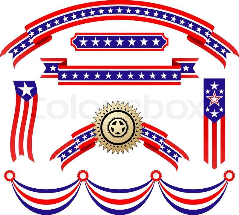 American Patriotic Symbols Set For Design And Decorate Stock