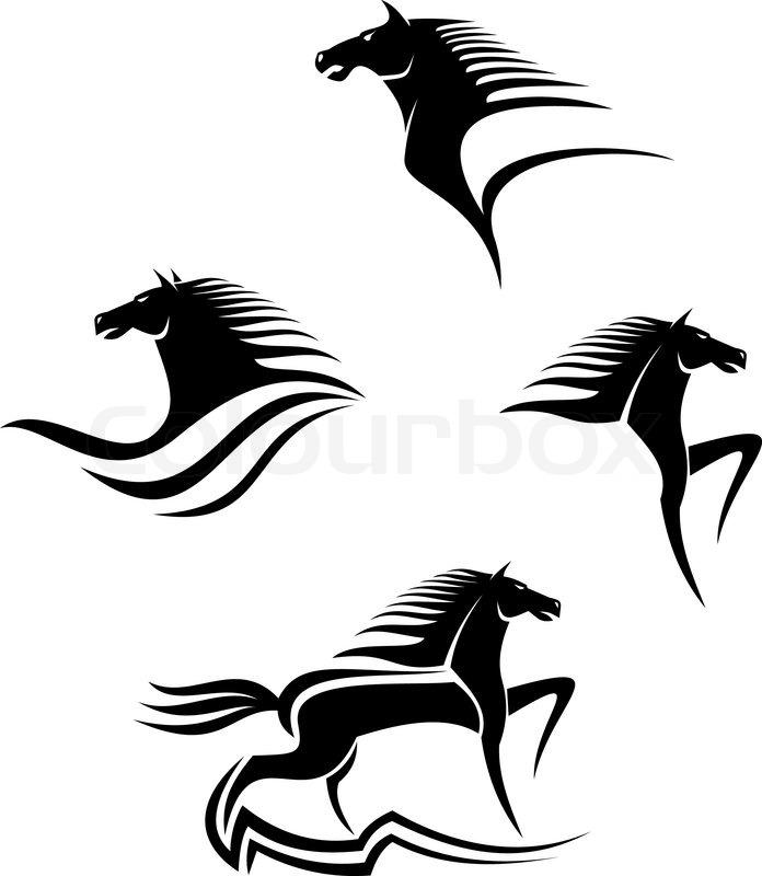 Set Of Black Horses Symbols For Design Isolated On White Stock