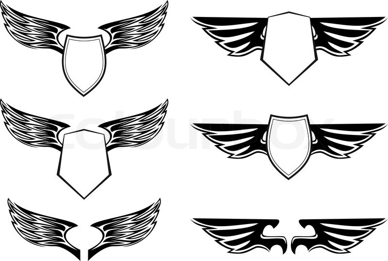 Heraldic wings with shields for design isolated on white | Stock ...