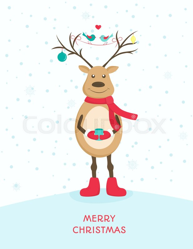 Funny happy deer character with decorated antlers holding a cup of funny happy deer character with decorated antlers holding a cup of hot beverage red shoes scarf and gloves merry christmas greeting card template m4hsunfo