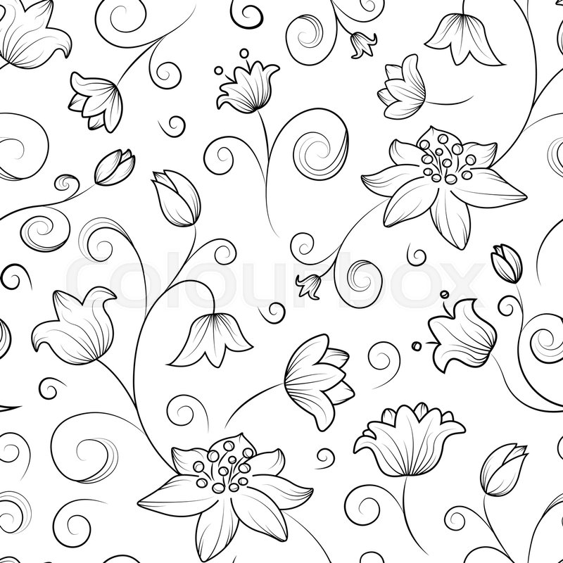 Abstract Flowers Tulip Seamless Pattern