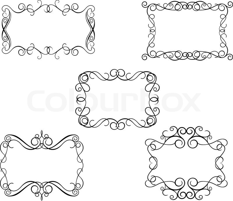 Vintage frames in victorian style for design as a