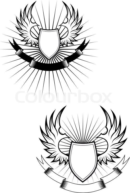 Wings Shield Scrolls Heraldic Shields Wings And