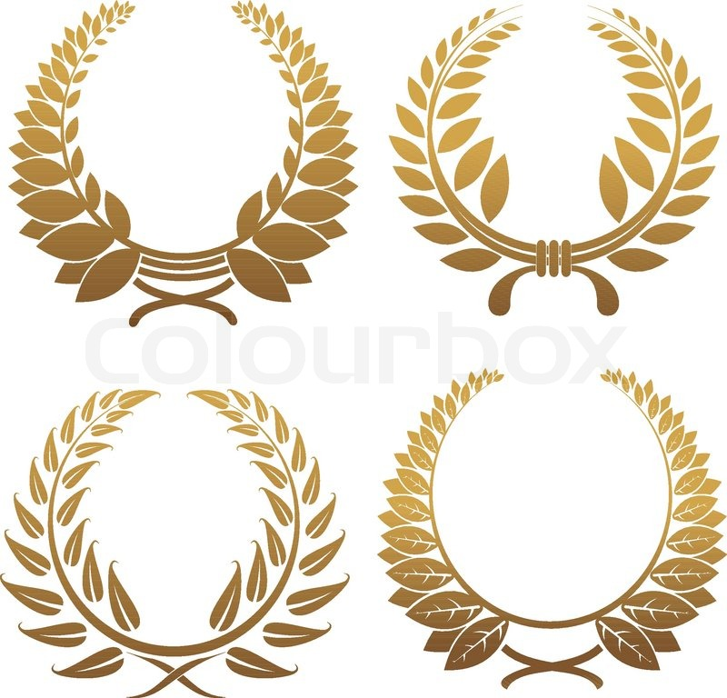 Set of gold and black laurel wreaths  Stock Vector