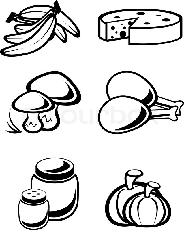 Set Of Food Symbols For Design Isolated On White Stock Vector