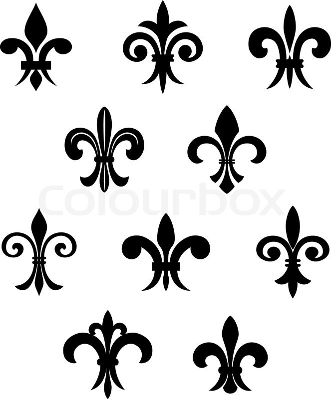 Royal French Lily Symbols For Design And Decorate Stock Vector