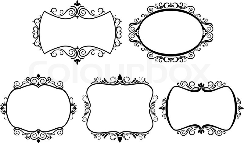 Set Of Vintage Frames Isolated On White Stock Vector