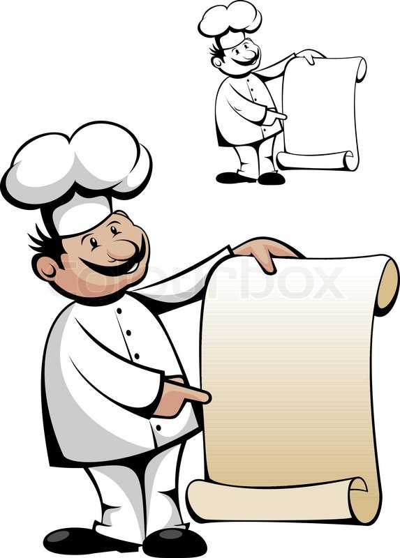 chef in uniform mit men auf wei isoliert vektorgrafik colourbox. Black Bedroom Furniture Sets. Home Design Ideas