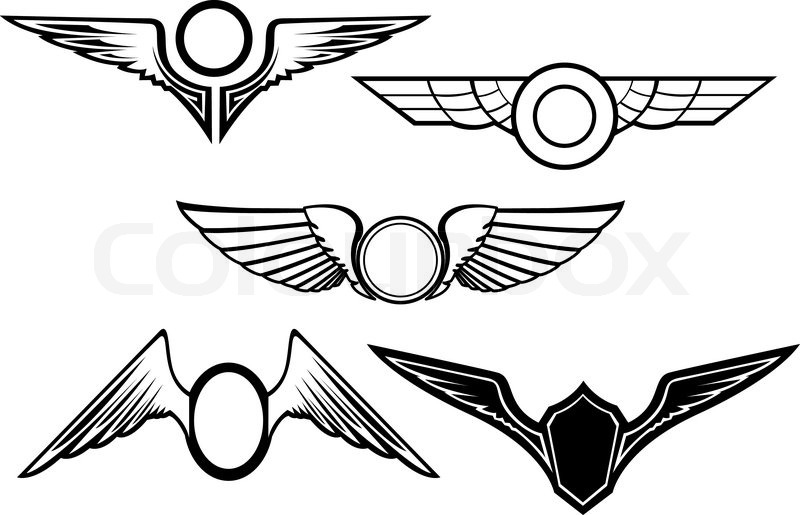 Set of wing symbols isolated on white | Stock Vector