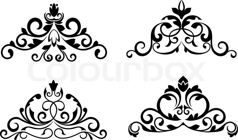 floral patterns and borders for design and ornate stock vector rh colourbox com ornate vector swirls ornate vector swirls