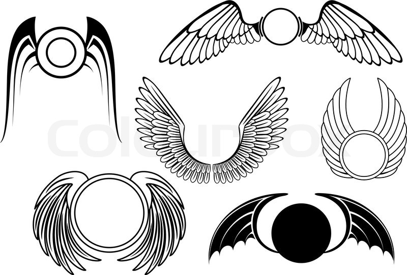 Set Of Wing Symbols Isolated On White Stock Vector Colourbox