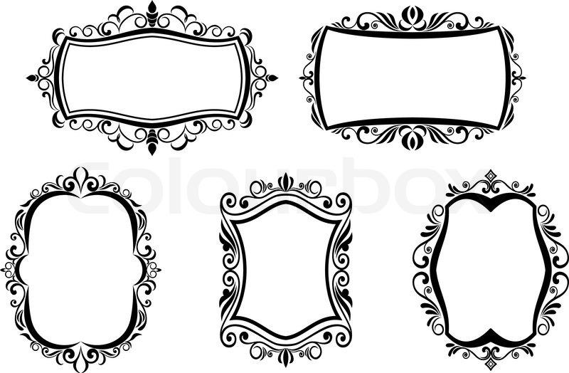 black vintage frame design. Antique Vintage Frames Isolated On White For Design, Vector Black Frame Design C