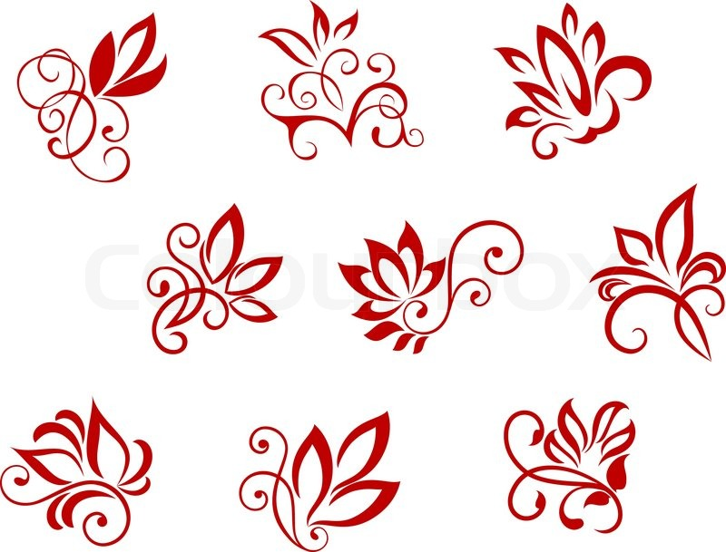 flower patterns isolated on white for design and ornate stock rh colourbox com flower watercolor vector pattern vector tropical flower pattern