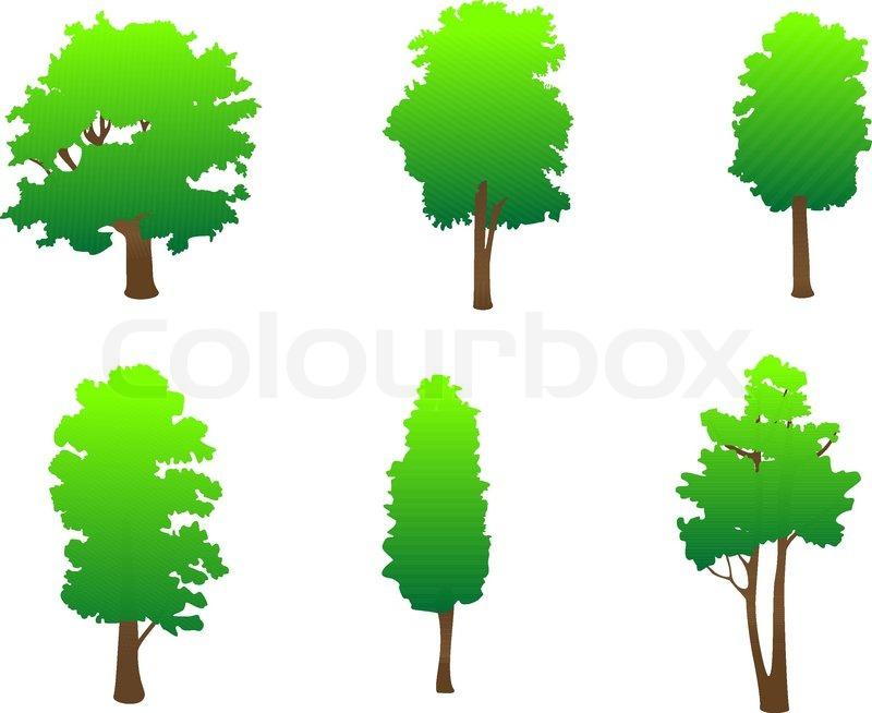 Set Von Baum Symbole Als Zeichen Oder Embleme Stock