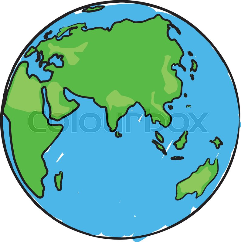 cartoon earth globe with eurasia africa and australia stock rh colourbox com cartoon picture of eating breakfast cartoon picture of the world