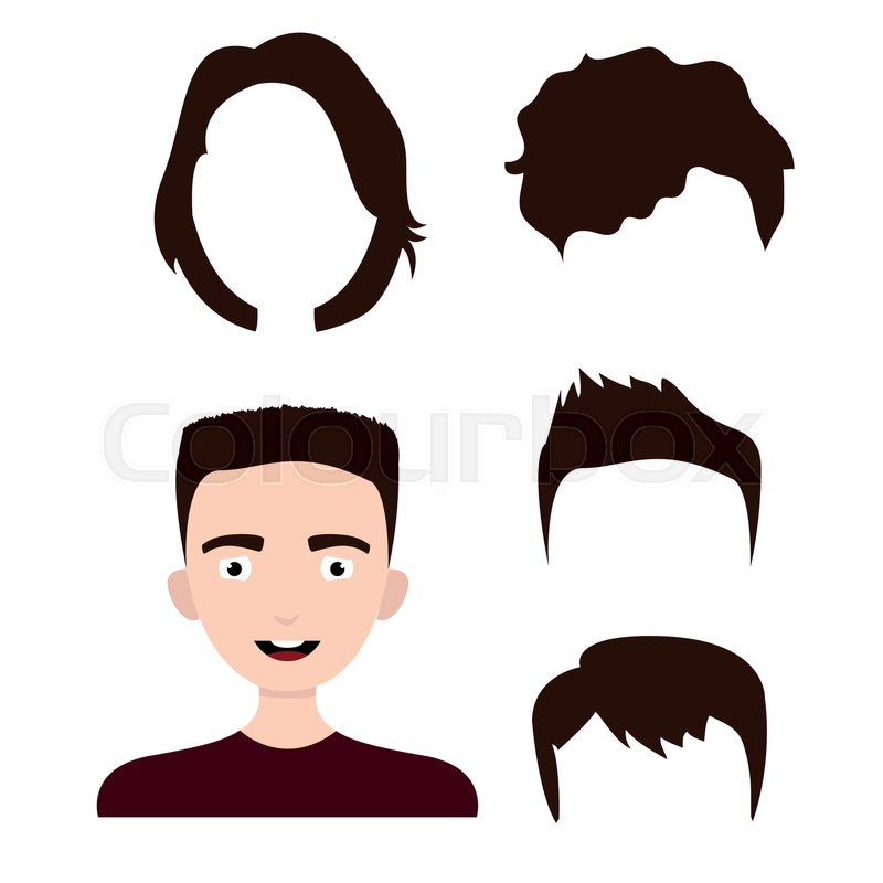 Young Man Haircuts Boy Hairstyle Stock Vector Colourbox