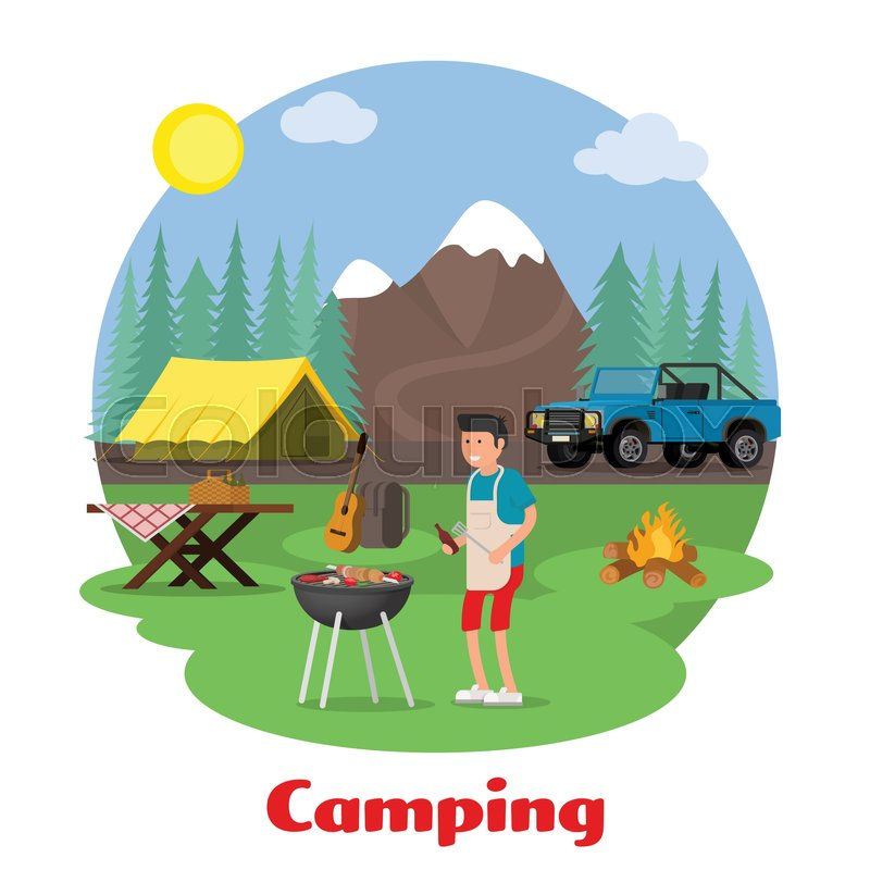 Camping and outdoor recreation concept. Man of cooking meat on the background of mountain scenery. Forest camp with a tent with a jeep. Vector illustration, vector
