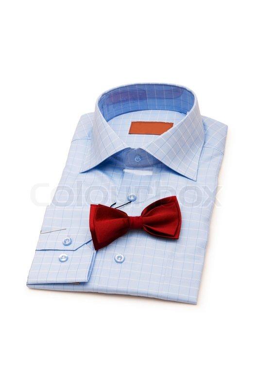 Синяя рубашка белая бабочка