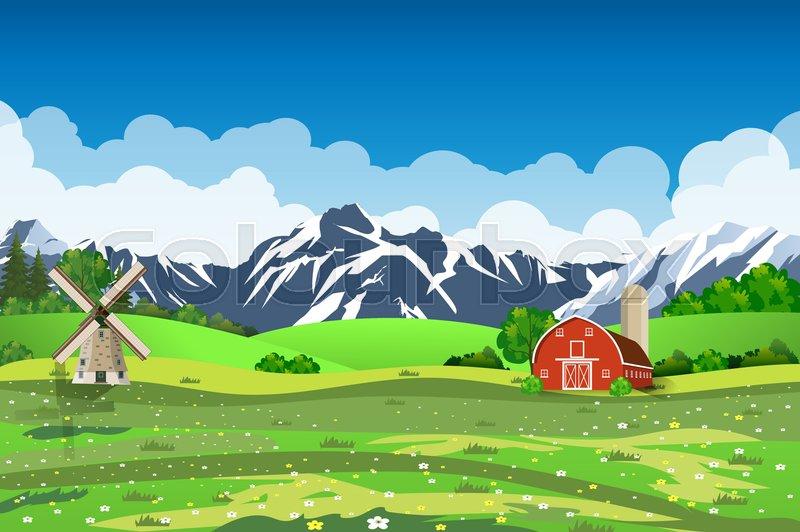 Cartoon Farm Green Seeding Field Vector 20933683 on Ranch Country House Plans