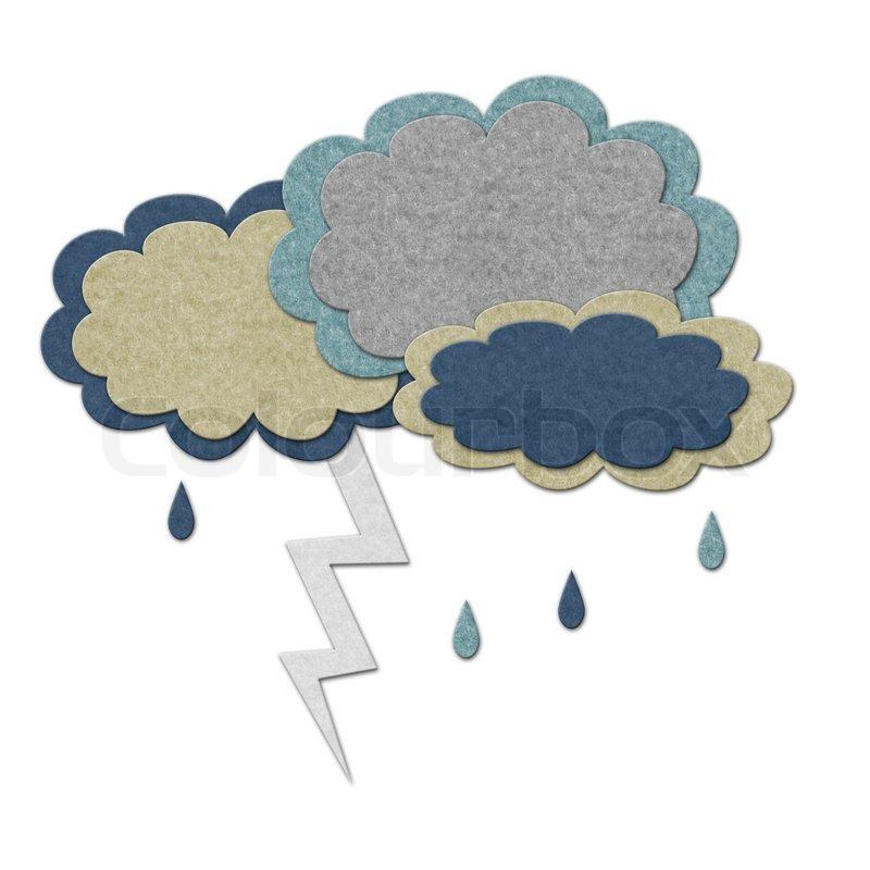 Felt Storm Clouds With Lightning Handmade Style Illustration Stock Photo Colourbox