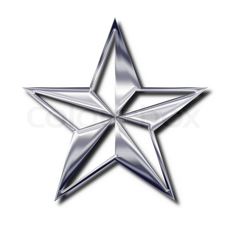 Silver Star Symbol Isolated Object With Shadow Stock Photo