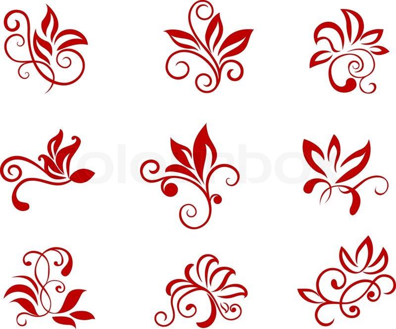 flower patterns isolated on white for design and ornate stock rh colourbox com flower pattern vector free flower pattern vector black and white