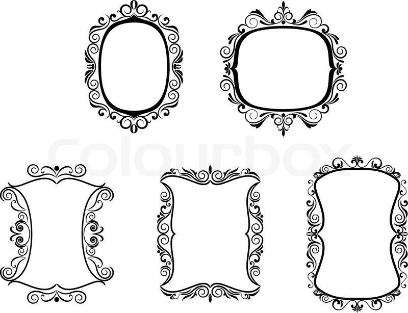 Satz von Vintage-Frames im viktorianischen Stil für design ...