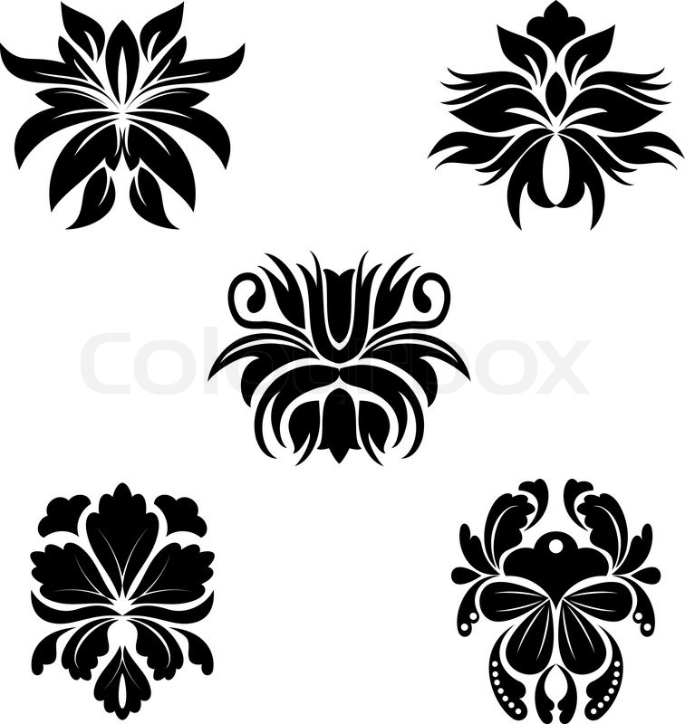 Black Flower Patterns For Design And Stock Vector Colourbox