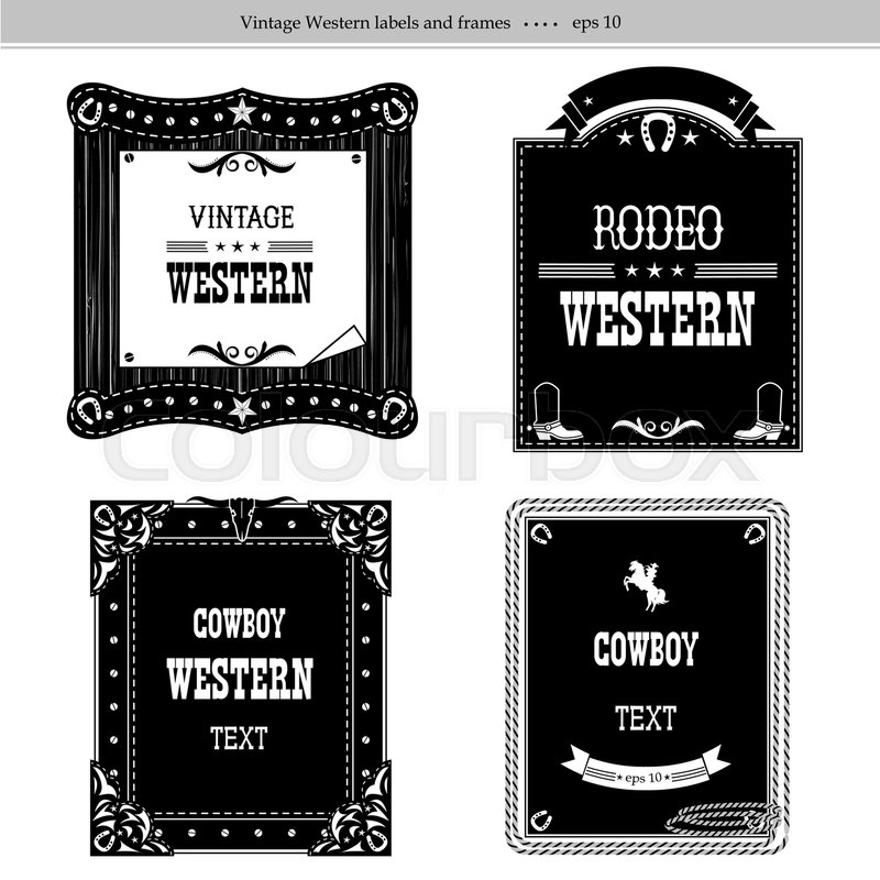 Set of labels and frames in Western style isolated on white for ...