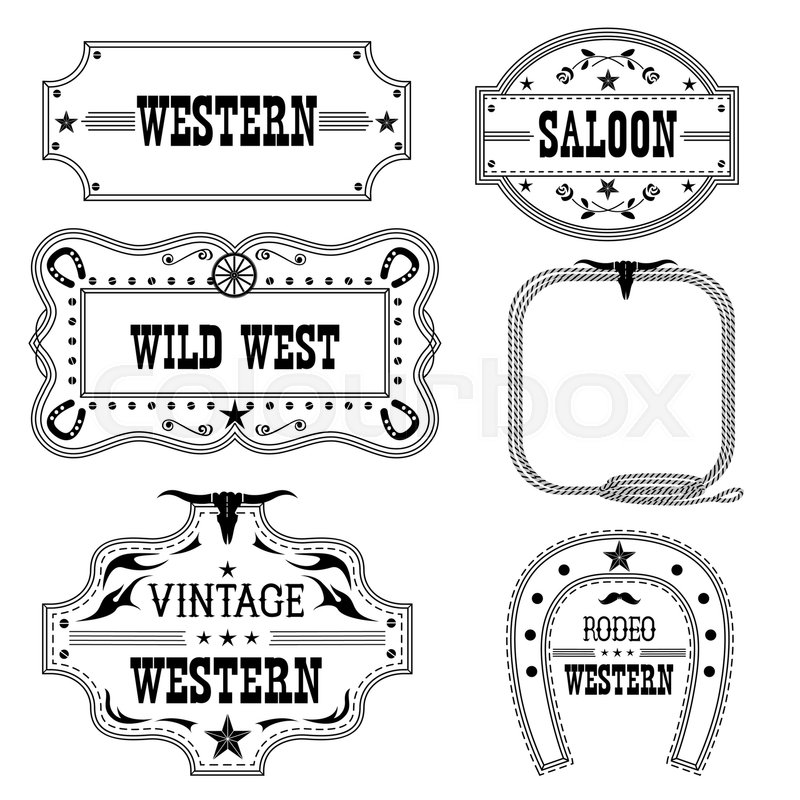 Western vintage labels isolated on white for design.Vector antique ...