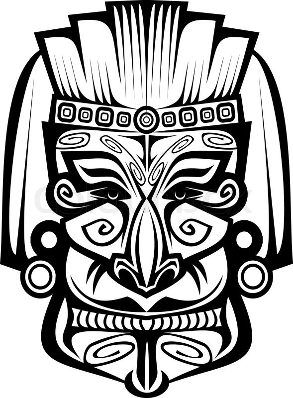 Mask Black And White Drawing Ancient Ceremony Mask Isolated