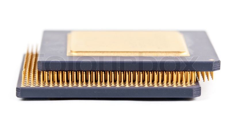 Two Old Processor With The Gold Contacts On A White