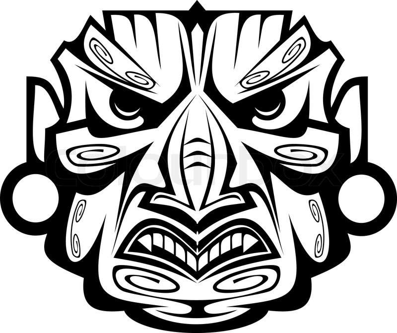ancient ceremony mask isolated on white for design stock vector