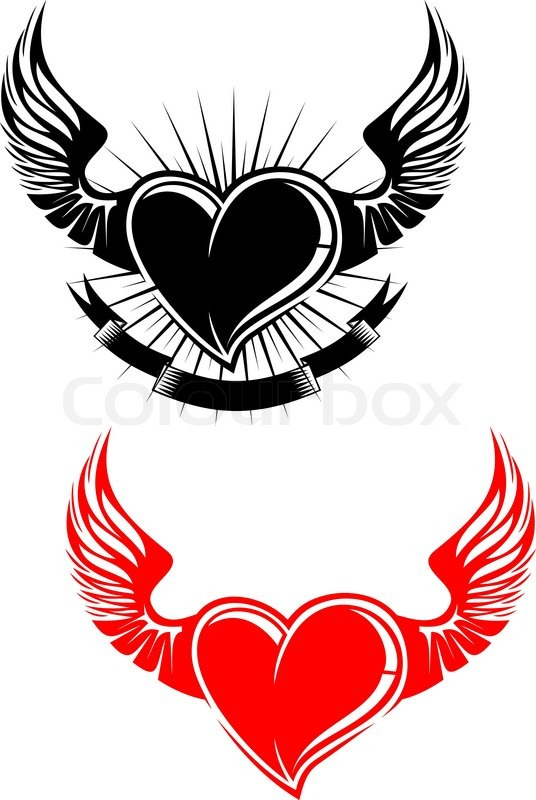 Heart With Wings Tattoo Symbol Isolated On White Stock Vector