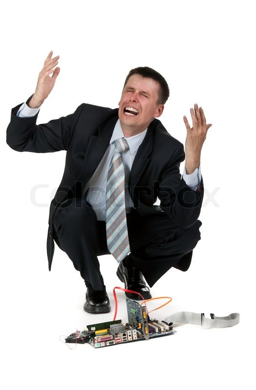 Businessman Is Crying Over The Broken Stock Photo