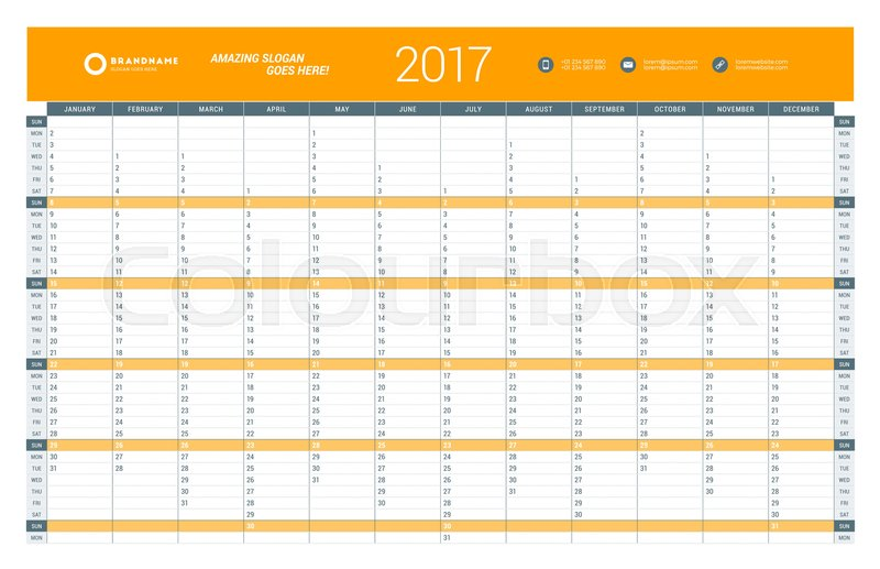 Yearly Calendar Planner Template For Stock Vector Colourbox
