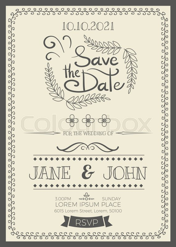 Vintage Wedding Invitation Card A5 Stock Vector