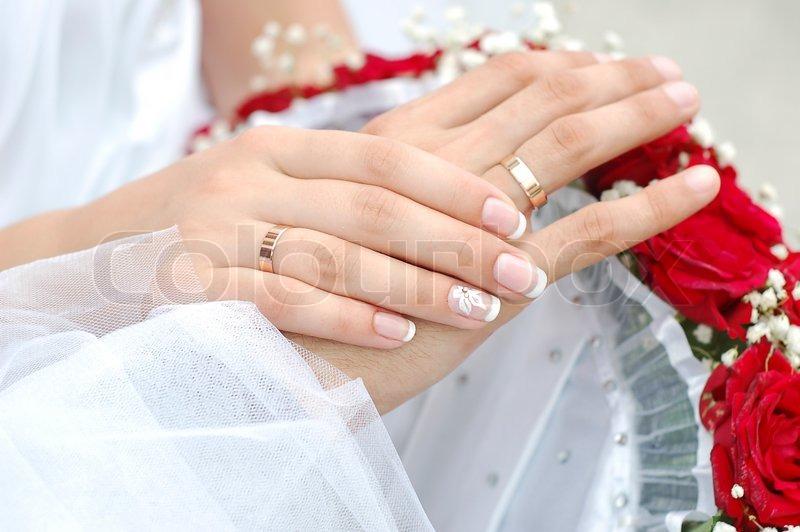 Hands Bride Wedding Ring Bouquet Groom Ceremony Flowers