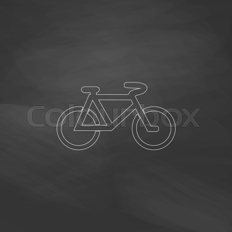 Mountain Bike Simple Line Vector Button Imitation Draw With White