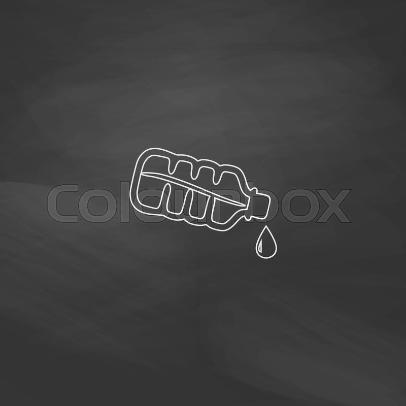 Water Bottle Simple Line Vector Button Imitation Draw With White Chalk