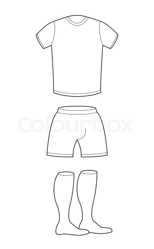 T Shirt Shorts And Socks Template For Design Sample Sports Clothing Soccer Football Shape Blank Curve