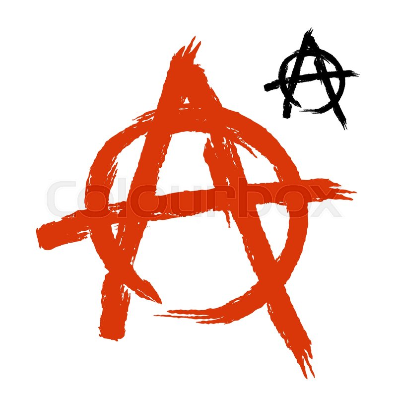 Anarchy Symbol Grunge Style Sign Of Disorder And Chaos Emblem Of