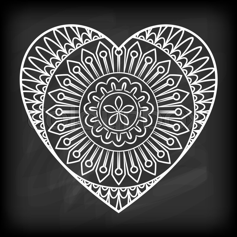 doodle heart mandala on chalkboard outline flower in a heart shape