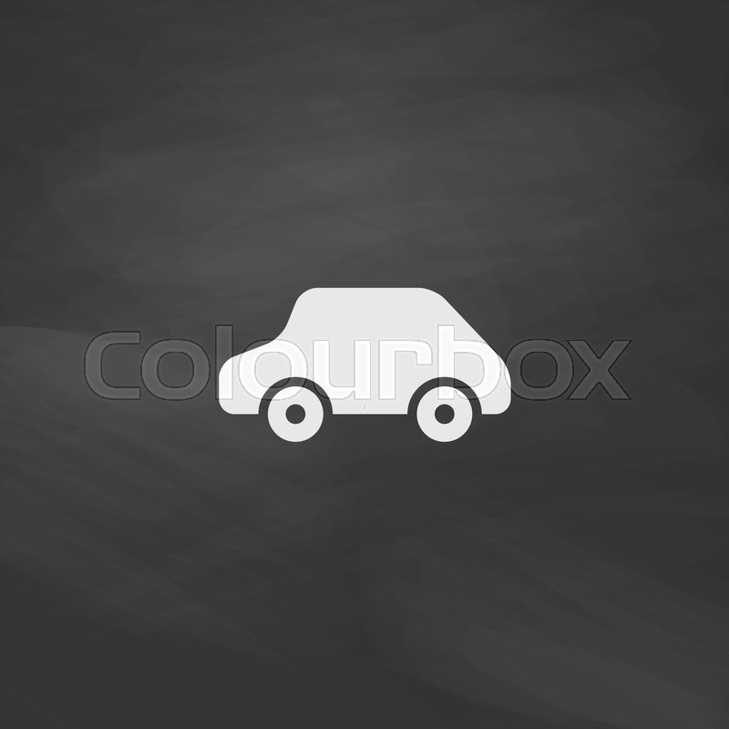 toy car simple vector button imitation draw icon with white chalk