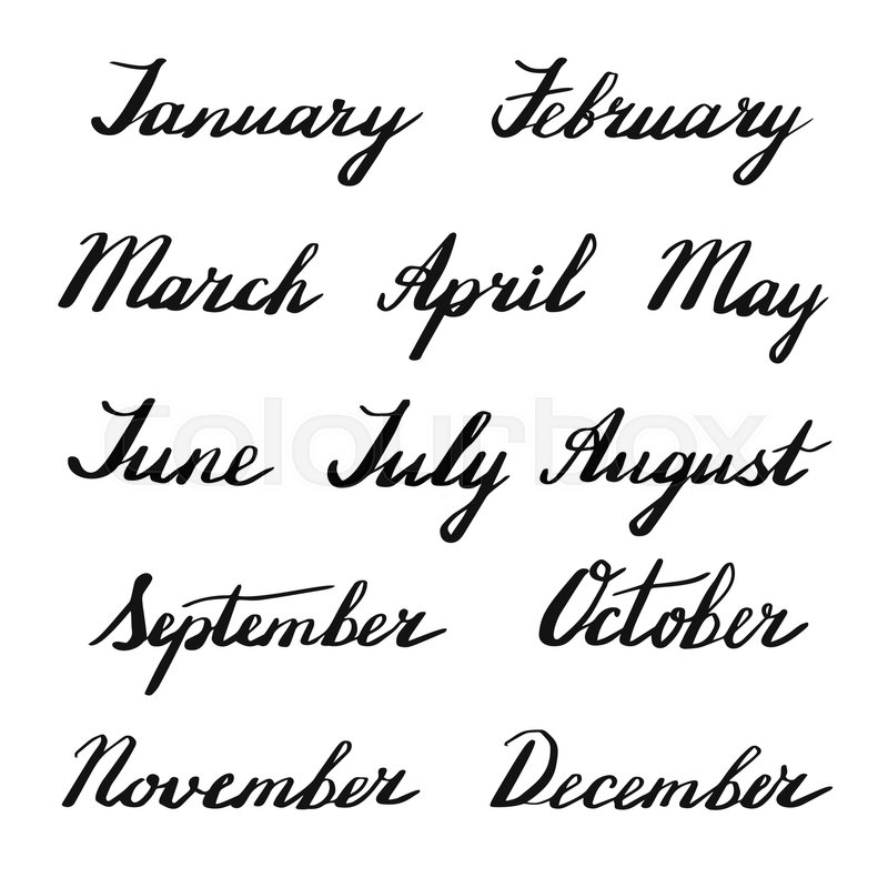 Handwritten months of the year:     | Stock vector | Colourbox