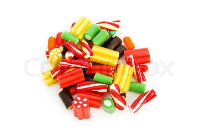 Stock image of 'Colourful sweets isolated on the white background'