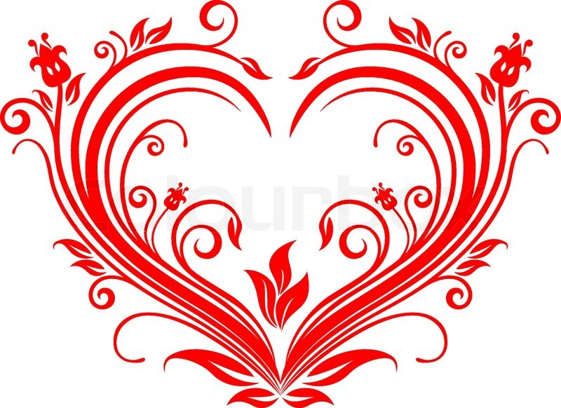 Red valentine hearts in floral style for design | Stock ...
