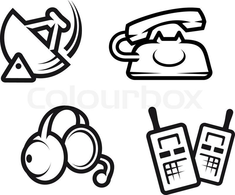 Set Of Communication Symbols For Technology Design Stock Vector