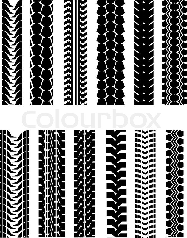 Set Of Tire Shapes Isolated On White For Design Stock
